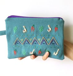 Hand embroidered Teal 'CactiChiliAlpaca' Zipper by BaobapHandmade