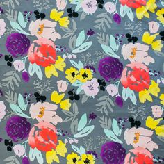 """Watercolor botanicals and bold color come together in perfect harmony.Colors - Multi on GreyHorizontal Repeat - 39 1/2"""" Vertical Repeat - 17 1/4"""" Fabric Width -"""