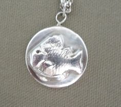 Fish Pendant Necklace Fine Silver Metal by FirednWiredJewelry on etsy