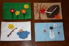 Examples of felt pages depicting the four seasons.