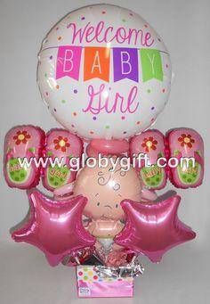 Welcome baby girl, arreglo con globos para darle la bienvenida a la nueva bebé