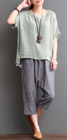 Bean green linen blouse women short top cotton