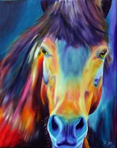 'Horse Without Title' - Portrait of a beautiful Horse with glowing colours, colourful Oil Painting of Horses