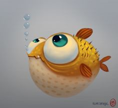 Illustration Fish Puffer fish by Oscar Carvajal Fish Drawings, Cartoon Drawings, Cartoon Art, Cute Drawings, Animal Drawings, Fish Cartoon Drawing, Cute Cartoon Fish, Foto Logo, Illustrations