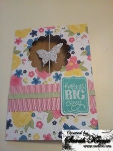 Stampin' Up Butterfly Tutorial-uses Elegant Butterfly punch, Silver Glimmer paper, Ginham Garden DSP and Scallop Circle punch. Decorate with any sentiment.