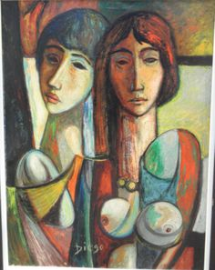 """Diego Voci™ #DIEGO SIGNATURE. We have featured one of two Diego paintings created nearly a half century ago.  This was the period Antonio Diego Voci, changed signing his artwork from """"Voci"""" to """"Diego"""", while working with Naffouj Galerie in Landstuhl.  The McReynolds family purchased them in Germany.   """"Two Girls"""", 31.5"""" x 24"""" oil on canvas. Since 2015 they have found a new """"Diego"""" home."""