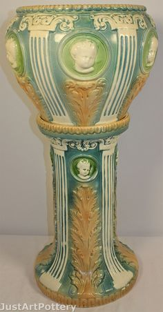 Roseville Pottery Cameo Cherub Jardiniere and Pedestal from Just Art Pottery Vintage Pottery, Pottery Art, Antique Art, Vintage Art, Victorian Vases, Roseville Pottery, First Art, American Art, Art Nouveau