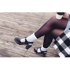 We love clogs with tights AND socks Highwood t-bar black clogs with a black sole. #lovemylottas #lottafromstockholm (@mackenzierodgers)