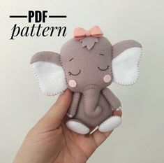 elephant pattern felt sewing elephant ornament PDF pattern A Felt Crafts Patterns, Pdf Sewing Patterns, Loom Patterns, How To Make Ornaments, Felt Ornaments, Elephant Mobile, Felt Dolls, Sock Dolls, Rag Dolls
