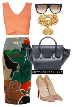 """""""Untitled #1632"""" by stylebyteajaye ❤ liked on Polyvore featuring Burberry, BCBGMAXAZRIA, Christian Louboutin, CÉLINE and Versace"""
