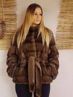 Real new mink fur coat jacket saga brown mexa nerzmantel fox