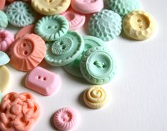 Edible Peppermint Candy Buttons 100 Featured in Well Wed. $75.00, via Etsy.