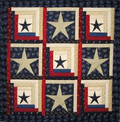log cabin quilt images | Stars and Stripes Log Cabin Quilt Pattern by prairiegrovepeddler