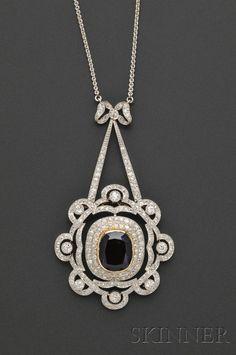 Edwardian Platinum and Diamond Pendant/Brooch, Marcus & Co. | Sale Number 2529B, Lot Number 818 | Skinner Auctioneers