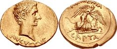 Gold coin of Emperor Augustus. He reigned in 27 BC - AD 14.