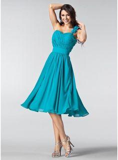 A-Line/Princess One-Shoulder Knee-Length Chiffon Bridesmaid Dress With Ruffle Flower(s)