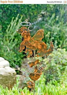 GOLDEN Retriever Garden Decoration Outdoor Plant Stake / Metal Copper Yard Art / Angel Dog / Pet Memorial Grave Marker / Patina Finished