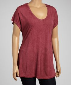 Another great find on #zulily! Mulled Wine Oil-Dye V-Neck Tee - Plus by Dantelle #zulilyfinds