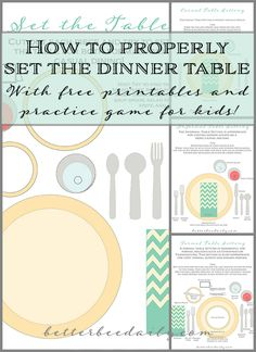 How to properly set the dinner table: Casual, Informal, or Formal. Free printable game for kids to learn how to set the table!