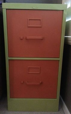The after picture of my spray painted filing cabinet.