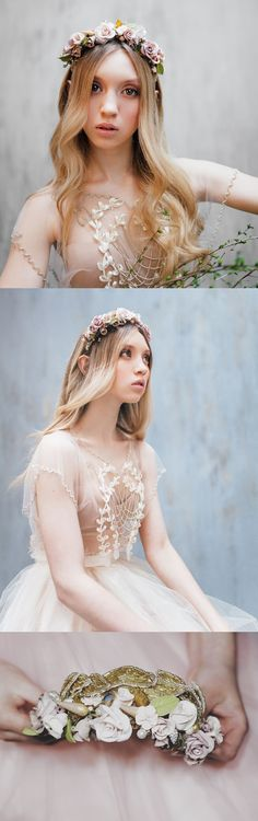 This bridal floral flower crown was created using soft clay in powderish colours and glass beads beaded in shape of golden leaves that sits on the headband. Can be made in different Colours (metal settings and beads). Bridal Wedding Hair Headpiece. Wedding ideas inspiration. Handmade in Germany. #weddings #bridal #bridalhair #weddingideas #bride #handmade #affiliatelink #weddingblogger