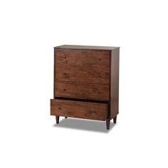 Add a simple touch of country elegance to any room with this four-drawer wood dresser. It sports a rich tobacco finish and matte black hardware. This smooth design has perfect angles and tapered legs. The dresser measures 40' x 32' x 18'.