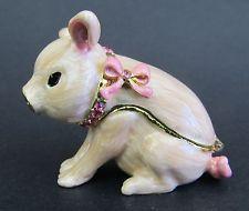 Pink Sitting Pig or Piglet Jewelled & Enamelled Trinket Box or Figurine