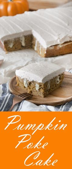 Sheet Pumpkin Poke Cake is soft, moist and easy to make.  With Vanilla Pudding in the middle and a browned buttercream frosting. | Holiday Desserts, Easy Desserts, Thanksgiving desserts