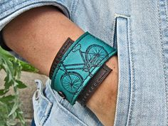 Leather Cuff Wrap Bracelet, Bicycle Print in Brown & Turquoise - SALE - see Listing for Coupon Codes...