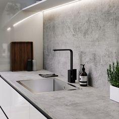 13 veces he visto estas buenas cocinas de concreto. Kitchen Room Design, Kitchen Themes, Modern Kitchen Design, Kitchen Decor, Kitchen Ideas, Black Kitchen Taps, Black Kitchens, Black Taps, Dining Room