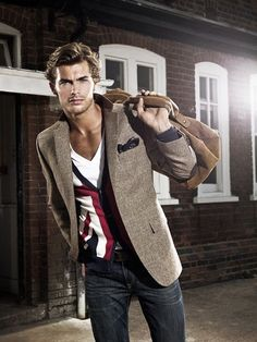 #fashion #mensfashion #menswear #style #outfit brown tweed, patterned cardigan, jeans, white v-neck t-shirt