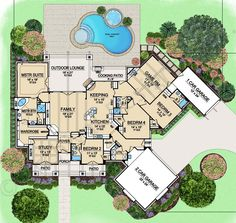 Aspen Creek - First Floor Plan | Where Bedroom 2 is I would make it a media room or something like that.