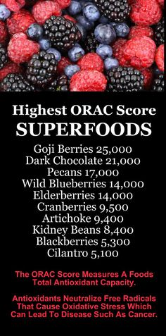 HIGHEST ORAC SCORE SUPERFOODS: Goji Berries, Dark Chocolate, Pecans, Blueberries, Elderberries, Cranberries, Artichoke, Kidney Beans, Blackberries, Cilantro. Learn about antioxidant loaded Kangen Water; it's hydrogen rich, alkaline, ionized water that neutralizes free radicals that cause oxidative stress which can lead to a variety of health issues. Change your water, change your life. #Superfoods #Antioxidants #Health #Fruits #Vegetables