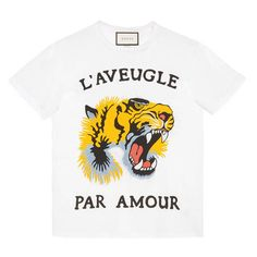 Gucci Tiger Print Cotton T-Shirt ($400) ❤ liked on Polyvore featuring tops, t-shirts, ready to wear, sweatshirts & t-shirts, women, white cotton tee, white tee, tiger print top, cotton t shirts and white top