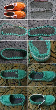 Patrones Crochet: Como hacer Zapatillas de Ganchillo desde unas Suelas