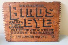 Vintage Bird's Eye Match Crate Wooden Panel by RestorationHouse, $10.00