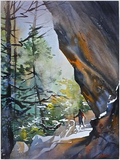 """annie at ash cave - ohio"" thomas w schaller watercolor 24x18 inches 25 march 2014"