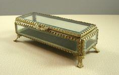 Victorian Style Beveled Glass Jewelry Casket // Wedding Ring Bearer Box // from UBlinkItsGone, $45.99