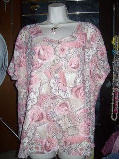 Avenue Pink Multi-Colored Short Sleeve Shirt Size 26-28 (free shipping)