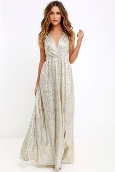 All that Shimmers is Gold Light Gold Maxi Dress 14