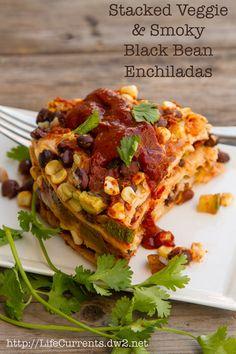 Stacked Veggie & Smoky Black Bean Enchiladas vegan, vegetarian, gluten-free, dairy free http://lifecurrents.dw2.net