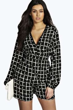 Lilly Grid Print Plunge Neck Playsuit in Plus Size at boohoo.com
