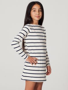 Youth Long Sleeve Sailor Stripe Dress   Shop American Apparel