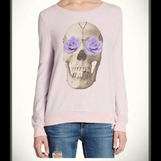 WildFox Skulls and Roses Sweatshirt    (XS) This is a rocker girl with a feminine touch sweatshirt! Super hip and trendy. I love it!! Please see last photo for product details. Worn once...item is in brand new condition. Color is lavender  Wildfox Sweaters
