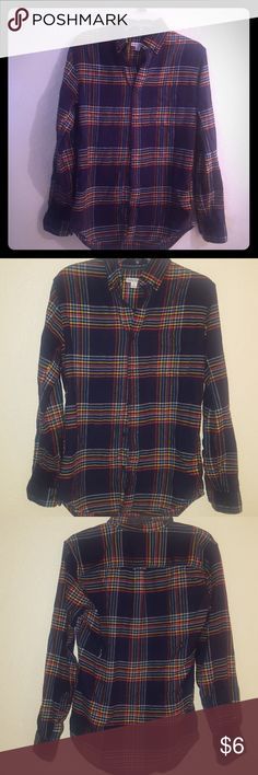 Men's flannel shirt Long sleeve,  navy with yellow, blue, orange, amd white stripes Merona Shirts Casual Button Down Shirts