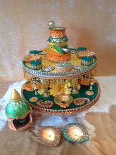 A stunning double tiered oil and mehndi plate. See my Facebook page…