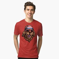 'American Golden Retriever' Tri-blend T-Shirt by LazyKoala American Golden Retriever, Chiffon Tops, Classic T Shirts, My Arts, Art Prints, Printed, Tees, Awesome, People