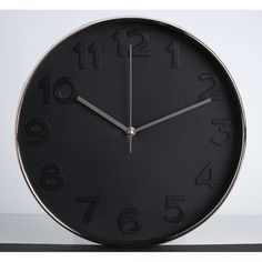 horloge silencieuse ronde noir et cuivre (GiFi-384303X)