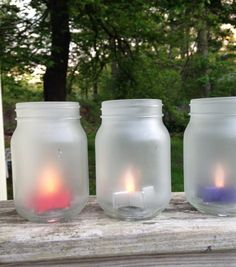 Frosted glass jar lantern Patriotic 4th of July seaglass white candle holders painted glass canning jar decoration pint