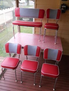 Retro Red Kitchen Table and Chair. Retro Red Kitchen Table and Chair. Art Deco Retro 50 S 60 S Red Laminex Dining Table and Dining Furniture Sets, Dresser Furniture, Retro Furniture, Cool Furniture, Pink Furniture, Red Kitchen Tables, Diner Kitchen, Kitchen Ware, Retro Table And Chairs